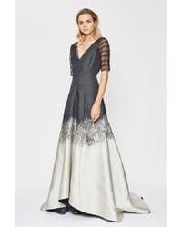 Amanda Wakeley - Brushstroke Black & Pearl Jacquard Degrade Gown - Lyst