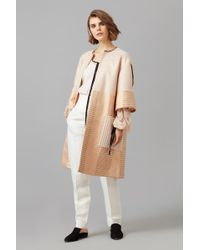 Amanda Wakeley - Rose Gold Metallic Jacquard Coat - Lyst