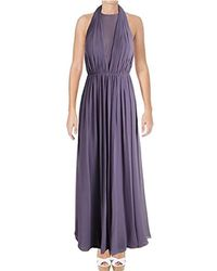Vera Wang - Sleeveless Chiffon Halter Gown With Veiled Deep V Neck - Lyst