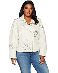 Levi's - Size Plus Faux Leather Embroidered Motorcyle Jacket - Lyst