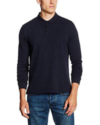Armani Jeans - Solid Long Sleeve Polo Shirt, Black, Large - Lyst