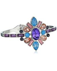 Guess - Hinged Bangle With Stones, Silver, One Size - Lyst