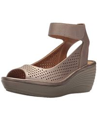 023abdd7f73 Lyst - Clarks Reedly Salene Wedge Sandal in Blue