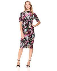 Adrianna Papell - Velvet Mock Neck Floral Print Dress - Lyst