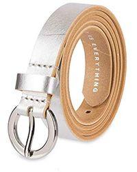 NYDJ 100% Leather Slim Skinny Waist Dress Belt For Jeans Pants - Metallic