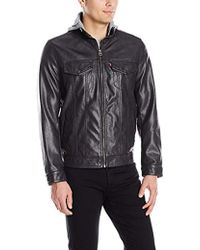 Levi's - Smooth Lamb Touch Faux Leather Hooded Stand Collar Commuter - Lyst