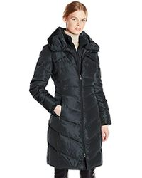 Jessica Simpson - Long Chevron-quilted Down Coat With Hood - Lyst