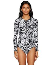 276e2e8ced318 Volcom - Slim Branch Out Long Sleeve Bodysuit One Piece Swimsuit - Lyst