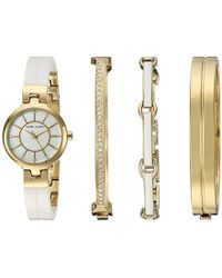 Anne Klein - Ak/2048gxst Swarovski Crystal Accented Gold-tone And White Ceramic Watch And Bracelet Set - Lyst