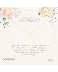 """Dogeared - Will You Be My Bridesmaid Flower Card Small Button White Pearl Chain Necklace, 16"""" + 2"""" Extension - Lyst"""