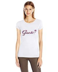Guess - Short Sleeve R3 Floral Fill Script Logo Tee - Lyst