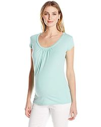 Michael Stars - Maternity Supima Short Sleeve Scoop Neck Top With Shirring - Lyst
