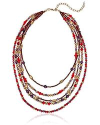 Napier - Red Multi Beaded Multirow Necklace, Gold Red - Lyst