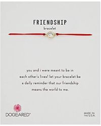 """Dogeared - Friendship Crystal On Red Cord Bracelet, Gold Dipped, 9"""" - Lyst"""
