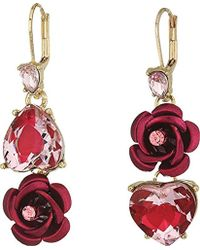 Betsey Johnson - S Pink And Gold Non-matching Heart Earrings - Lyst
