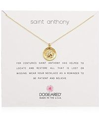 "Dogeared - St Anthony Necklace, 16"" + 2"" Extension, 14k Gold Dipped 0.925 Sterling Silver - Lyst"