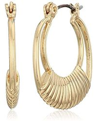 Napier - Gold-tone Click It Textured Hoop Earrings - Lyst