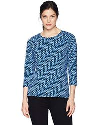 Rafaella - Printed Embellished Knit Tee - Lyst
