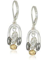 Nine West - Tri-tone And Crystal Small Orbital Drop Earrings - Lyst