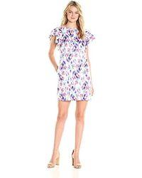 Donna Morgan - Ruffle Sleeve Floral Dress - Lyst