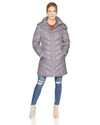 Kenneth Cole - Thigh Length Zip Puffer Jacket With Mix Quilts - Lyst