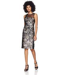 Vera Wang - Sleevless Printed Metallic Jacquard Cocktail Dress - Lyst