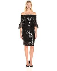 Laundry by Shelli Segal - Crepe Off The Shoulder Sequins Cocktail - Lyst