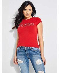 Guess - Shot Sleeve Contrast Bling Logo T-shirt - Lyst