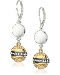Nine West - Tri-tone And Crystal Double Drop Earrings - Lyst