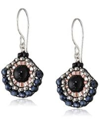 Miguel Ases - Onyx And Hematite Small Fan Drop Earrings - Lyst