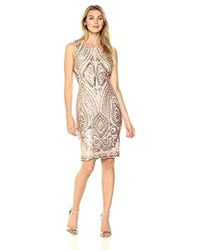 2c9bff773ac Ivanka Trump - Champagne Embellished Sheath Dress - Lyst