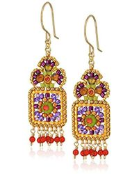 Miguel Ases - Small Floral Framed Square Round Wrapped Dangle Multi-drop Earrings - Lyst