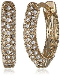 Judith Jack - Golden Class Sterling Silver And Gold-tone Marcasite Crystal Huggie Hoop Earrings - Lyst