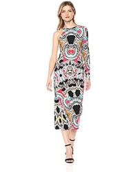 Nicole Miller - Paisley Mash One Slv Ruched Dress, - Lyst
