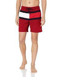 e8791f78df10f Tommy Hilfiger - Tango Red Medium Drawstring Swimshorts - Lyst