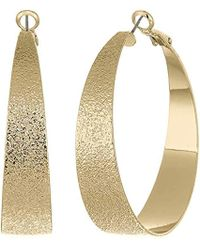 BCBGeneration - Bcbg Generation Gold Textured Hoop Earrings, One Size - Lyst