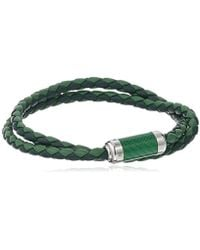 Tateossian - Unisex Unisex Silver Green Alutex Clasp Green Leather Medium 38cm Wrap Bracelet - Lyst
