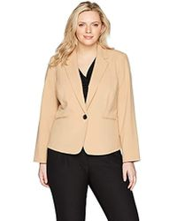 Nine West - Plus Size Bi Stretch 1 Button Notch Lapel Jacket - Lyst