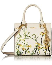 Calvin Klein - Logan Saffiano Leather Floral Applique Crossbody - Lyst