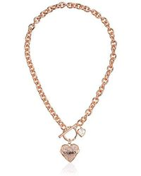 Guess - Toggle Logo Charm Necklace, Rose Gold, One Size - Lyst