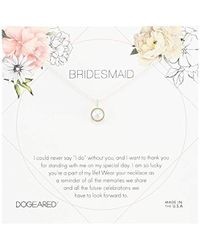 Dogeared - Bridesmaid Flower Card Large Bezel Pearl Pendant Necklace - Lyst