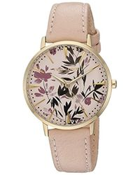 Vince Camuto - Vc/5348lplp Floral Pattern Dial Light Pink Leather Strap Watch - Lyst
