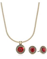 Napier - Red Pendant Stud Necklace And Earrings Set, Gold Red - Lyst