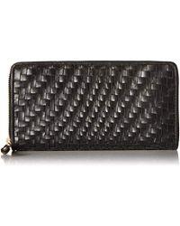 Cole Haan - Genevieve Leather Woven Zip Around Continental Wallet - Lyst