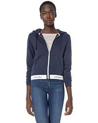 84996a20651c4 Calvin Klein - Modern Cotton Loungewear Top Hoodie Full Zip - Lyst