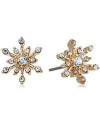 Napier - Gold-tone Crystal Snowflake Stud Earrings, Gold - Lyst