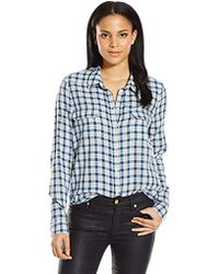 PAIGE - Trudy Shirt-white/harbor Blue - Lyst