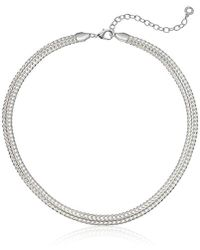 Anne Klein - Classics Silver Tone 17-inch Flat Collar Chain Necklace, Adjustable - Lyst