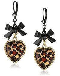Betsey Johnson - S Euro Leopard Heart Black Bow - Lyst