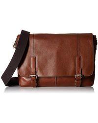 Fossil - Graham East West Leather Cognac Messenger Bag, Cognac - Lyst
